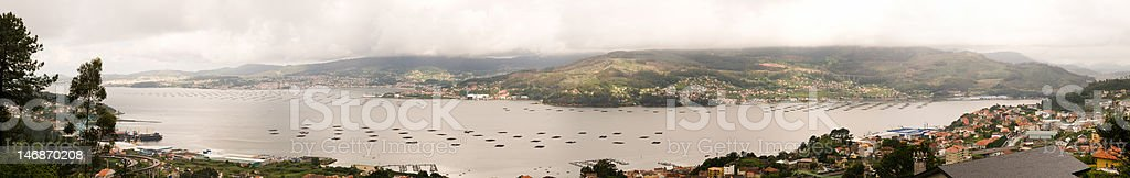Panorama of Vigo from Redondela stock photo