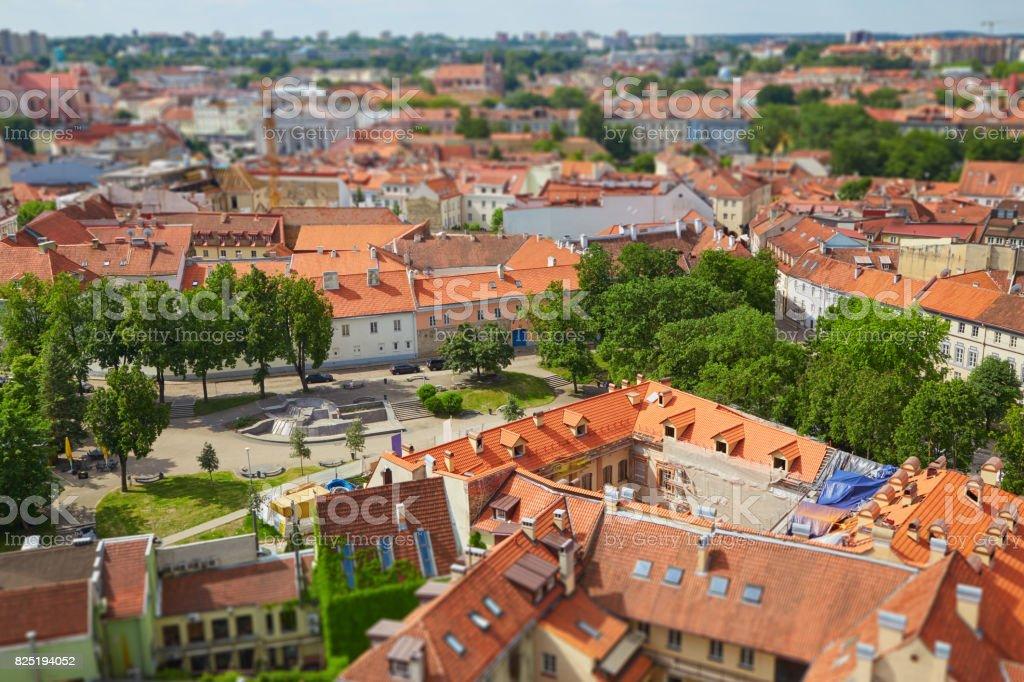 Panorama of Vilnius with tilt shift lens effect stock photo