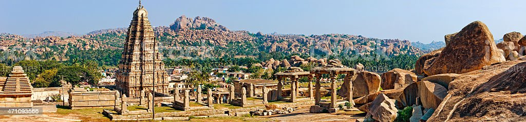 Panorama of Virupaksha temple, Hampi, India stock photo