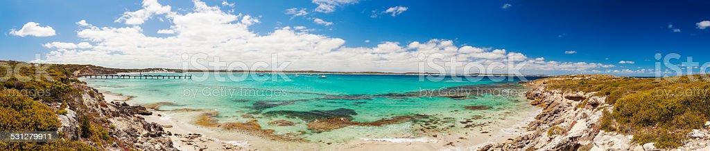 Panorama of Vivonne Bay on Kangaroo Island, South Australia stock photo
