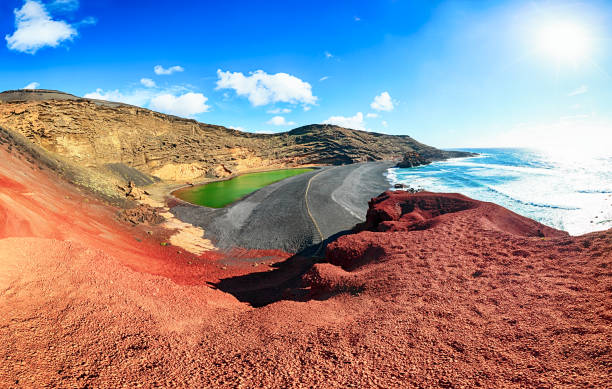 Panorama of Volcanic Lake El Golfo aerial view, Lanzarote, Canary Islands stock photo