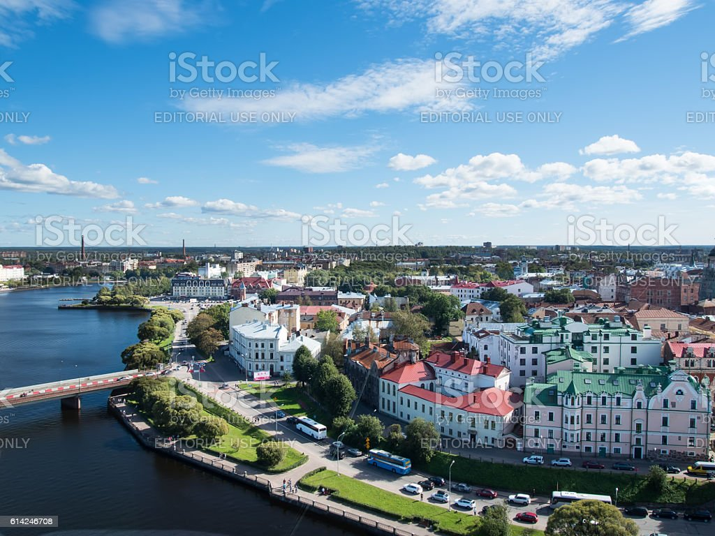 panorama of Vyborg from the lookout tower stock photo