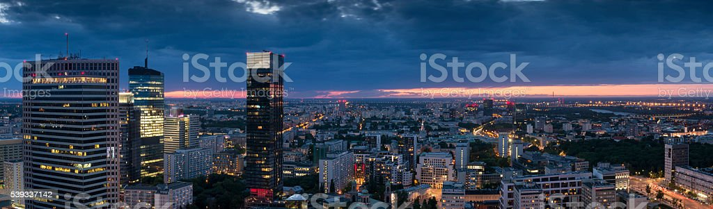 Panorama of Warsaw downtown during the night, stock photo