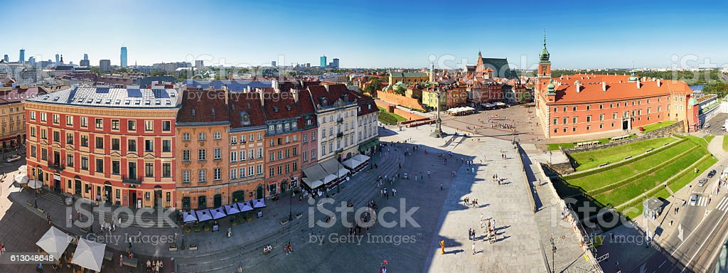 Panorama of Warsaw old town stock photo