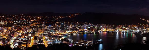 Panorama der Stadt Wellington in der Nacht, New Zealand – Foto