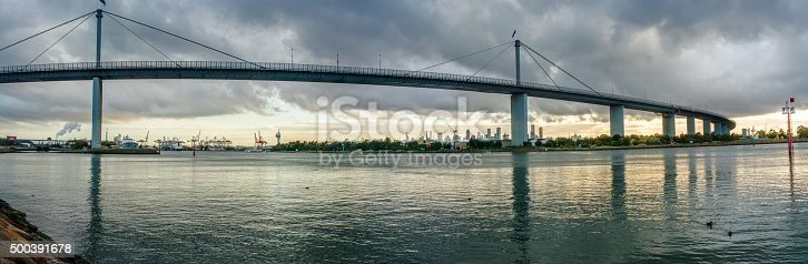 Panorama of West Gate Bridge in Melbourne at sunset in summer.
