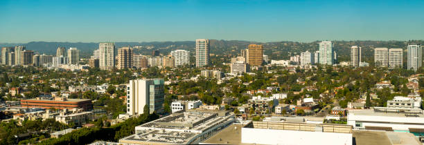 Panorama of Westwood Skyline Panorama of Westwood skyline, home of UCLA, shot from Century City California. ucla stock pictures, royalty-free photos & images
