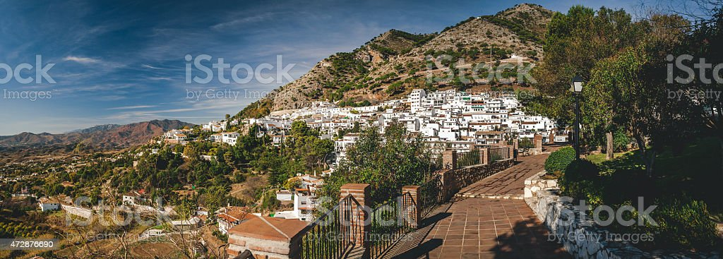 Panorama of white village of Mijas stock photo
