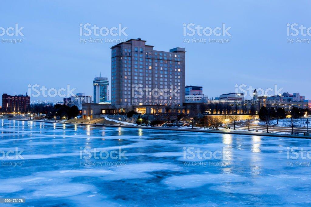 Panorama of Wichita at night stock photo