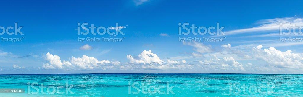 panorama of wild tropical Caribbean coast stock photo