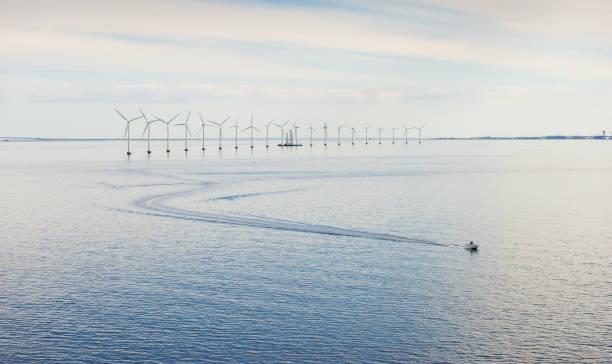 panorama över vindkraft park i oresund, danmark - öresund bildbanksfoton och bilder