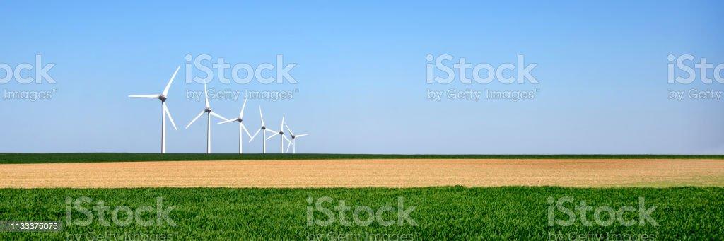 Panorama des éoliennes alignées dans un champ vert et jaune - Photo