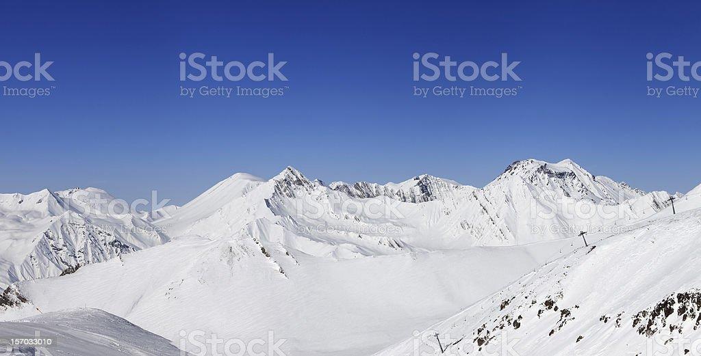Panorama of winter mountains. Caucasus Mountains, Georgia. royalty-free stock photo