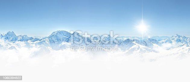 Panorama of winter mountains in Caucasus region, Elbrus mountain, Russia