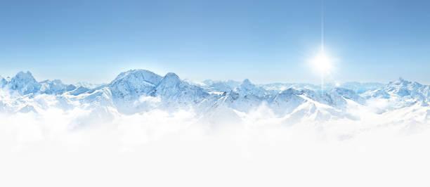 Panorama of winter mountains in Caucasus region, Elbrus mountain, stock photo