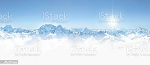 Photo of Panorama of winter mountains in Caucasus region, Elbrus mountain,