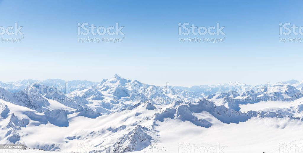 Panorama of winter mountains in Caucasus region,Elbrus mountain, Russia stock photo