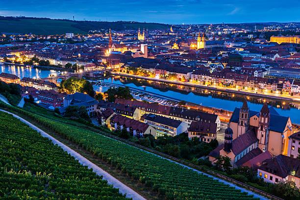 panorama of  wurzburg at night - main stock-fotos und bilder