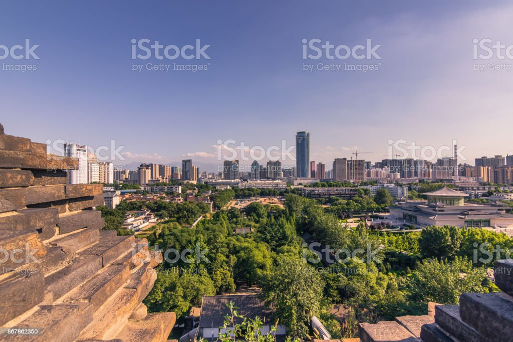 Xi'an, China - July 24, 2014: Panorama of Xi'an from the Small Wild Goose Pagoda temple complex stock photo