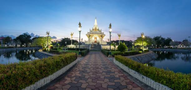 Panorama of Yala city pillar shrine, south of Thailand Panorama of Yala city pillar shrine at twilight, south of Thailand yala stock pictures, royalty-free photos & images