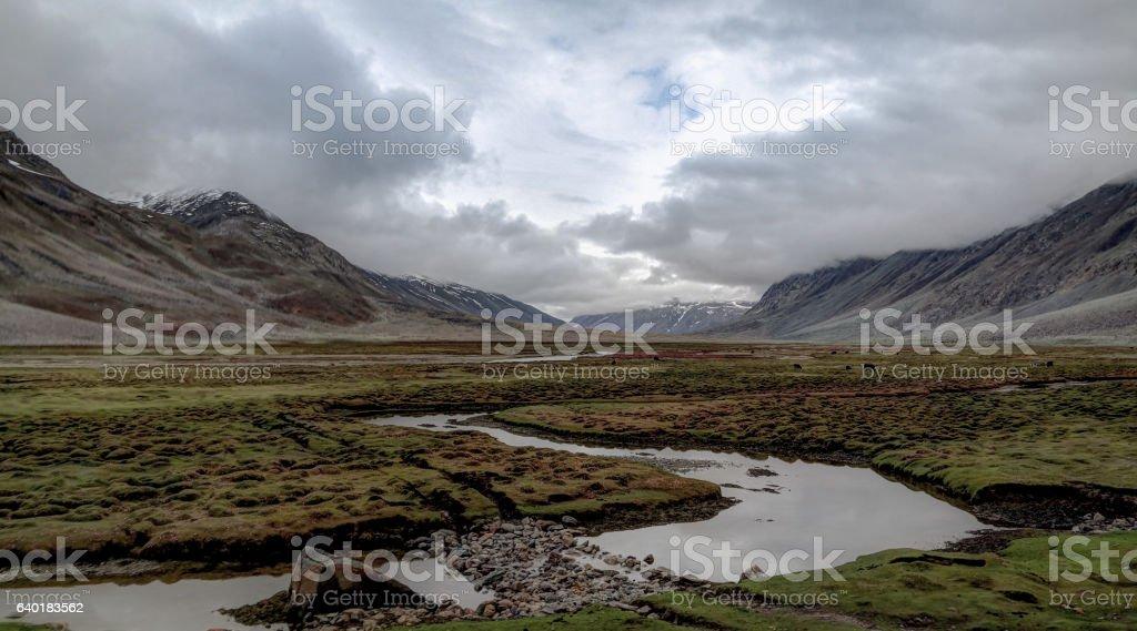 Panorama of Yasin river and Valley, Gilgit-Baltistan Province Pakistan stock photo