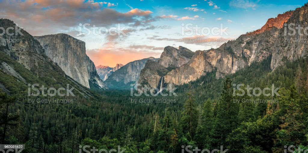 Panorama of Yosemite Valley at sunset stock photo