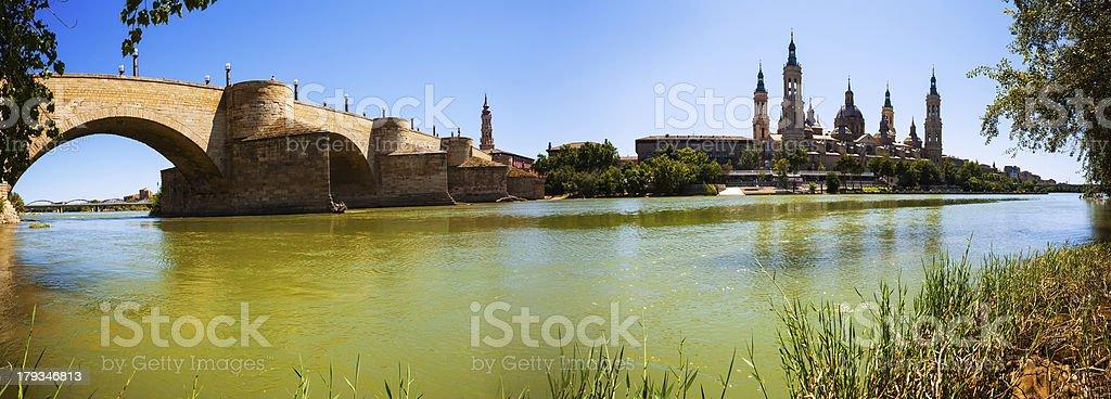 Panorama of Zaragoza stock photo