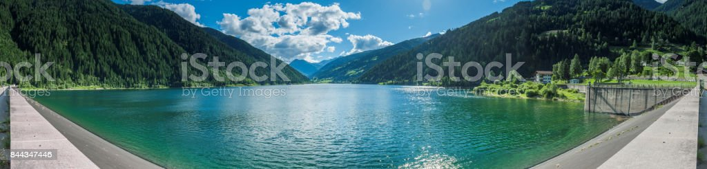 Panorama of Zoggler Reservoir in D'ultimo stock photo