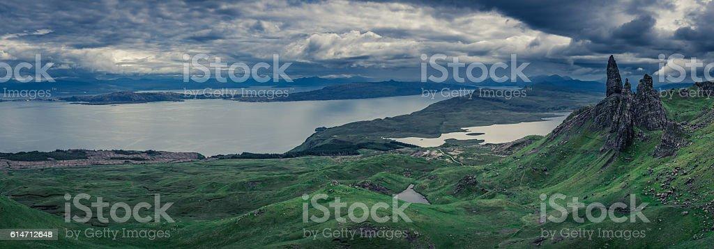 Panorama Old Man of Storr in Isle of Skye, Scotland stock photo