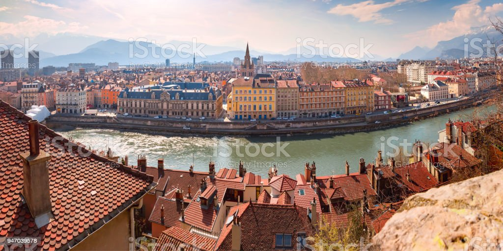 Panorama Old Town of Grenoble, France stock photo