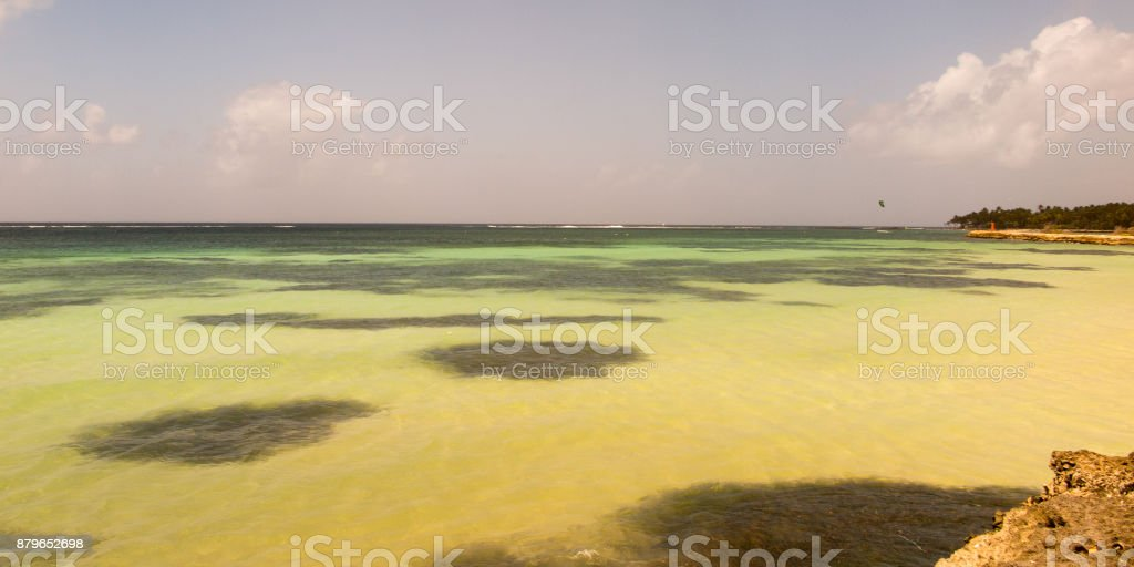 panorama on a paradisiac beach with white Caribbean sand stock photo