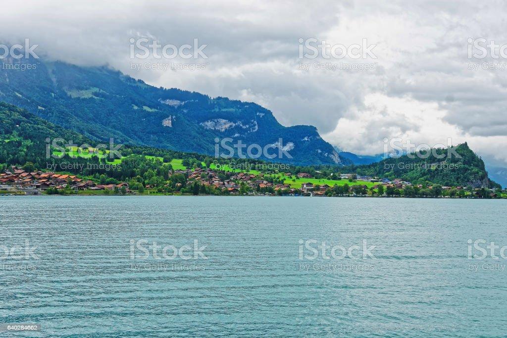Panorama on Brienz Lake and Brienzer Rothorn mountain Bern Switzerland stock photo