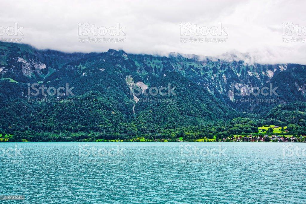 Panorama on Brienz Lake and Brienzer Rothorn mountain Bern Swiss stock photo