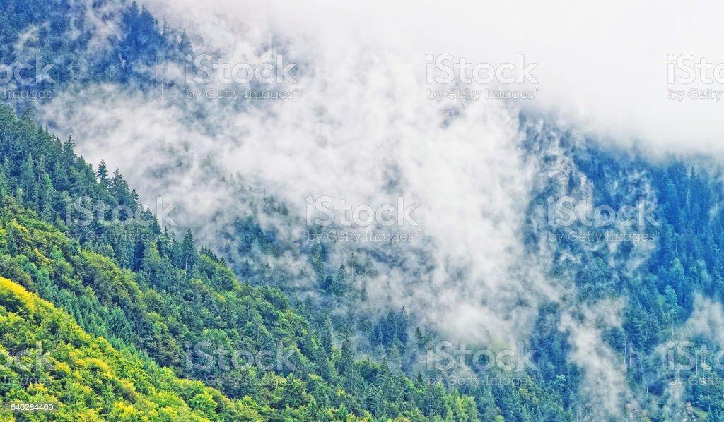 Panorama on Brienzer Rothorn mountain Brienz in Bern in Switzerland stock photo