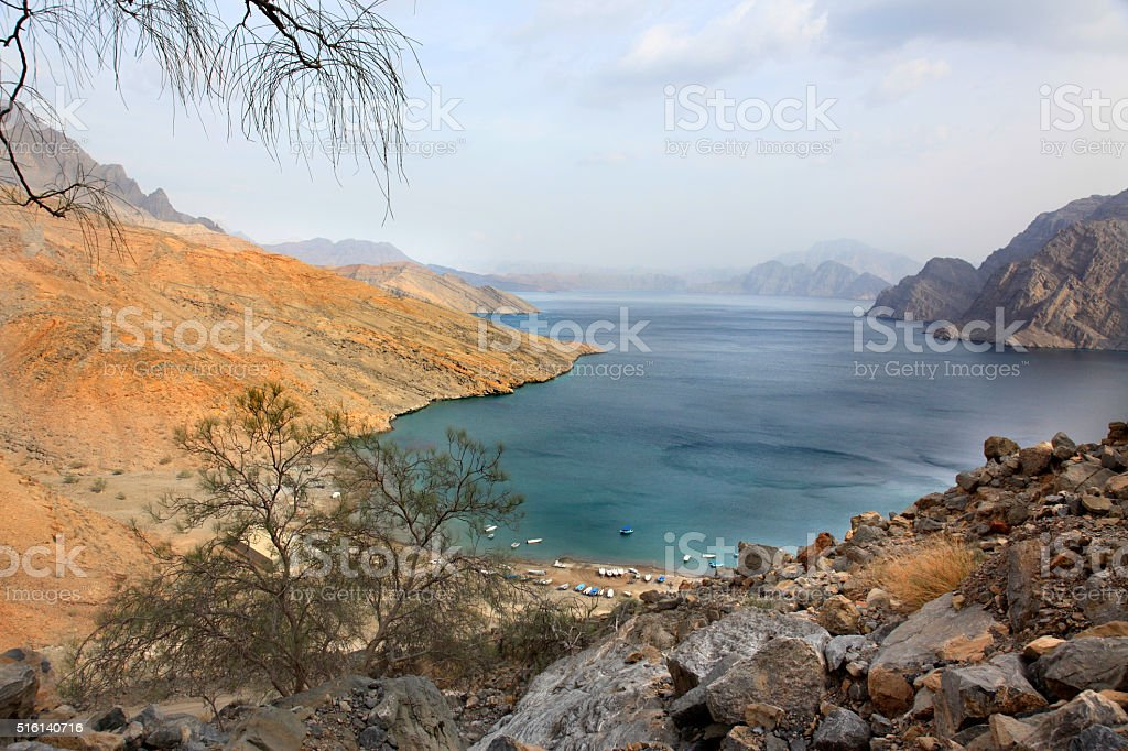 Panorama on Khawr Najid, Musandam, Oman stock photo