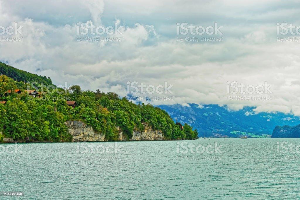 Panorama on Lake Brienz and Brienzer Rothorn mountain Bern Switzerland stock photo