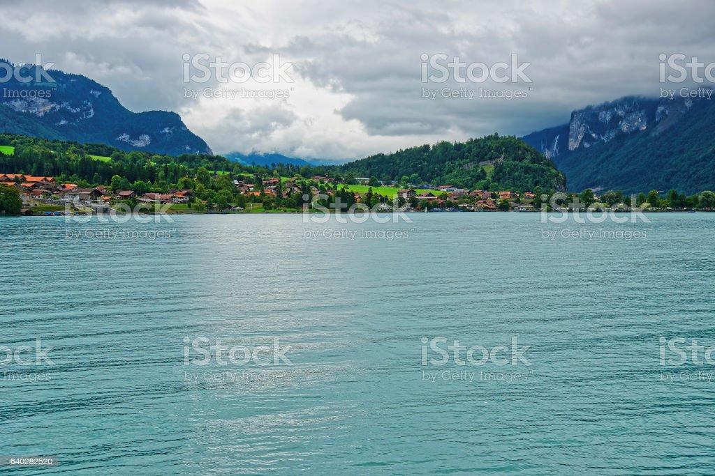 Panorama on Lake Brienz and Brienzer Rothorn mountain Bern Swiss stock photo
