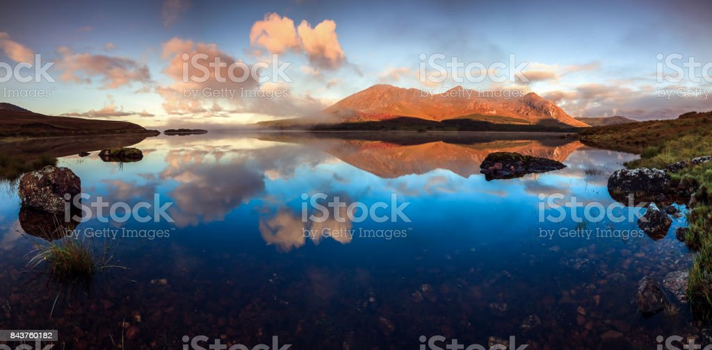 Panorama on one of the Connemara Lakes - Lough Inagh - Twelve Bens - Mayo, Ireland Irish landscape at dusk in the connemara Beauty In Nature Stock Photo
