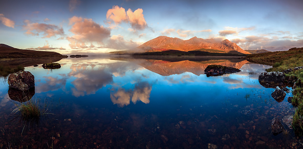 Panorama On One Of The Connemara Lakes Lough Inagh Twelve Bens Mayo Ireland Stock Photo - Download Image Now