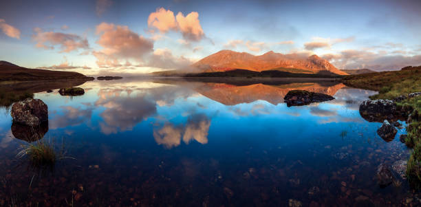Panorama on one of the Connemara Lakes - Lough Inagh - Twelve Bens - Mayo, Ireland stock photo