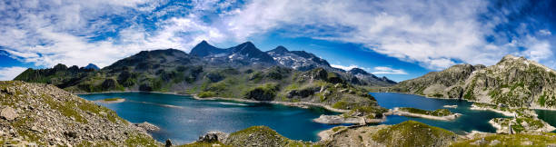 Panorama on the 7 laux lakes and the summits around it stock photo