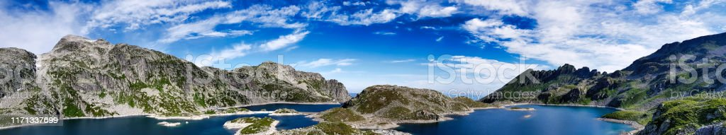 Panorama on the 7 laux lakes and the summits around it - Royalty-free 360-Degree View Stock Photo