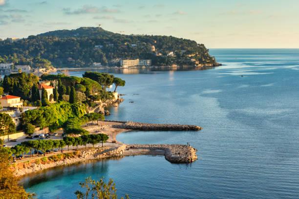 Panorama on the coast of Saint-Jean-Cap-Ferrat, Côte d'Azur, France stock photo