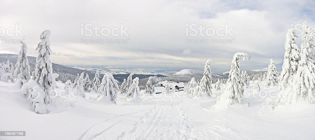 Panorama on the Snieznik Mountain stock photo