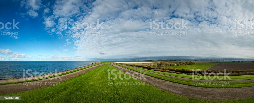 Panorama on top of sea dike in Harlingen, Friesland. Holland stock photo