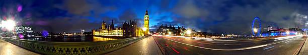 Panorama on Westminster Bridge at Night stock photo