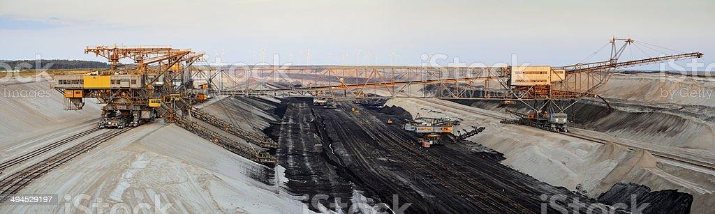 Panorama - Opencast mining just before sunset stock photo