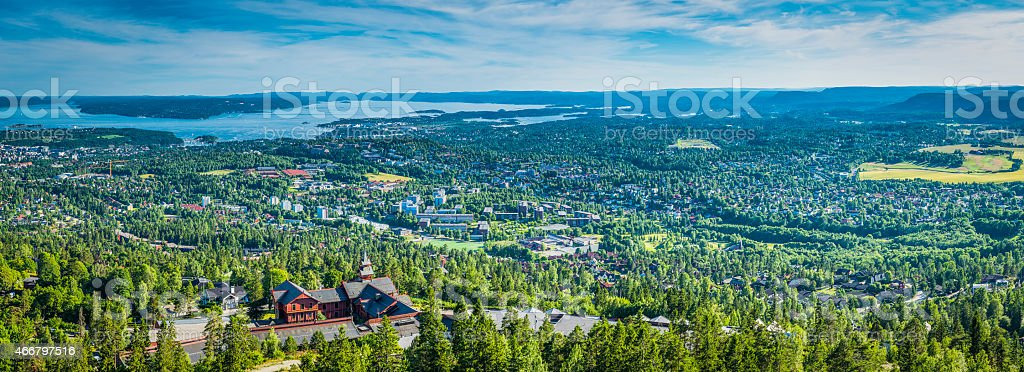 Panorama over the green suburbs and fjords of Oslo Norway stock photo