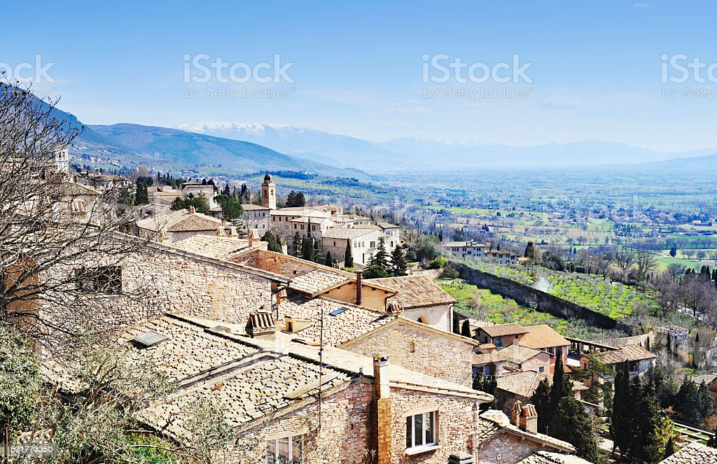 Panorama over the town of Assisi in Umbria,Italy. stock photo