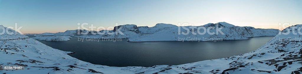 panorama overlooking the Upernavik fjord stock photo